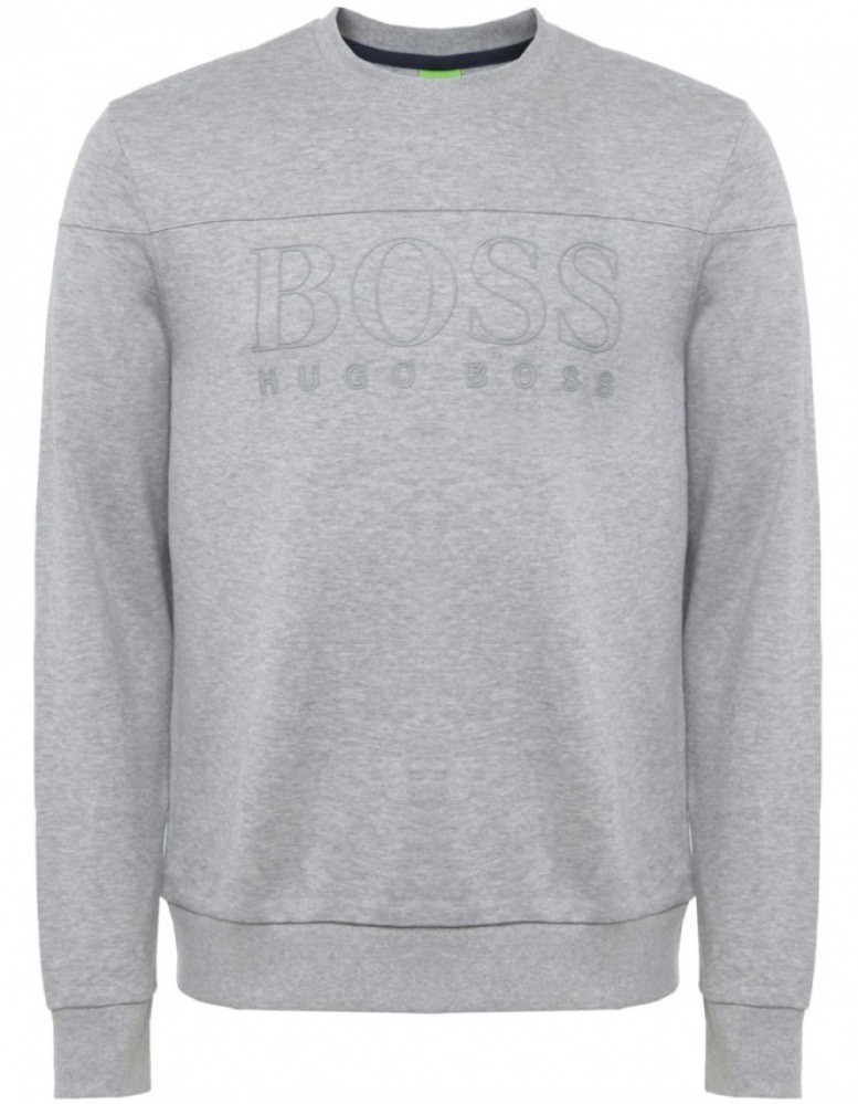 hugo boss green salbo logo herren sweatshirt pullover. Black Bedroom Furniture Sets. Home Design Ideas