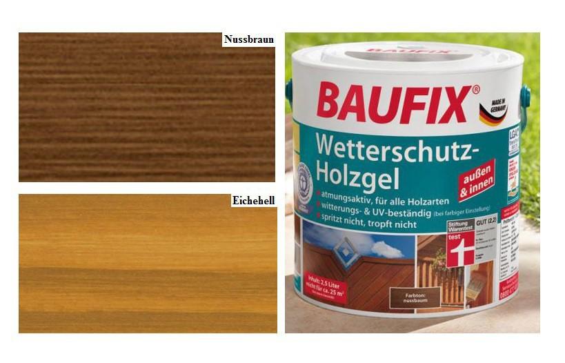 baufix 2 5 l wetterschutz holzgel lasur innen und au en holzschutz holzlasur ebay. Black Bedroom Furniture Sets. Home Design Ideas