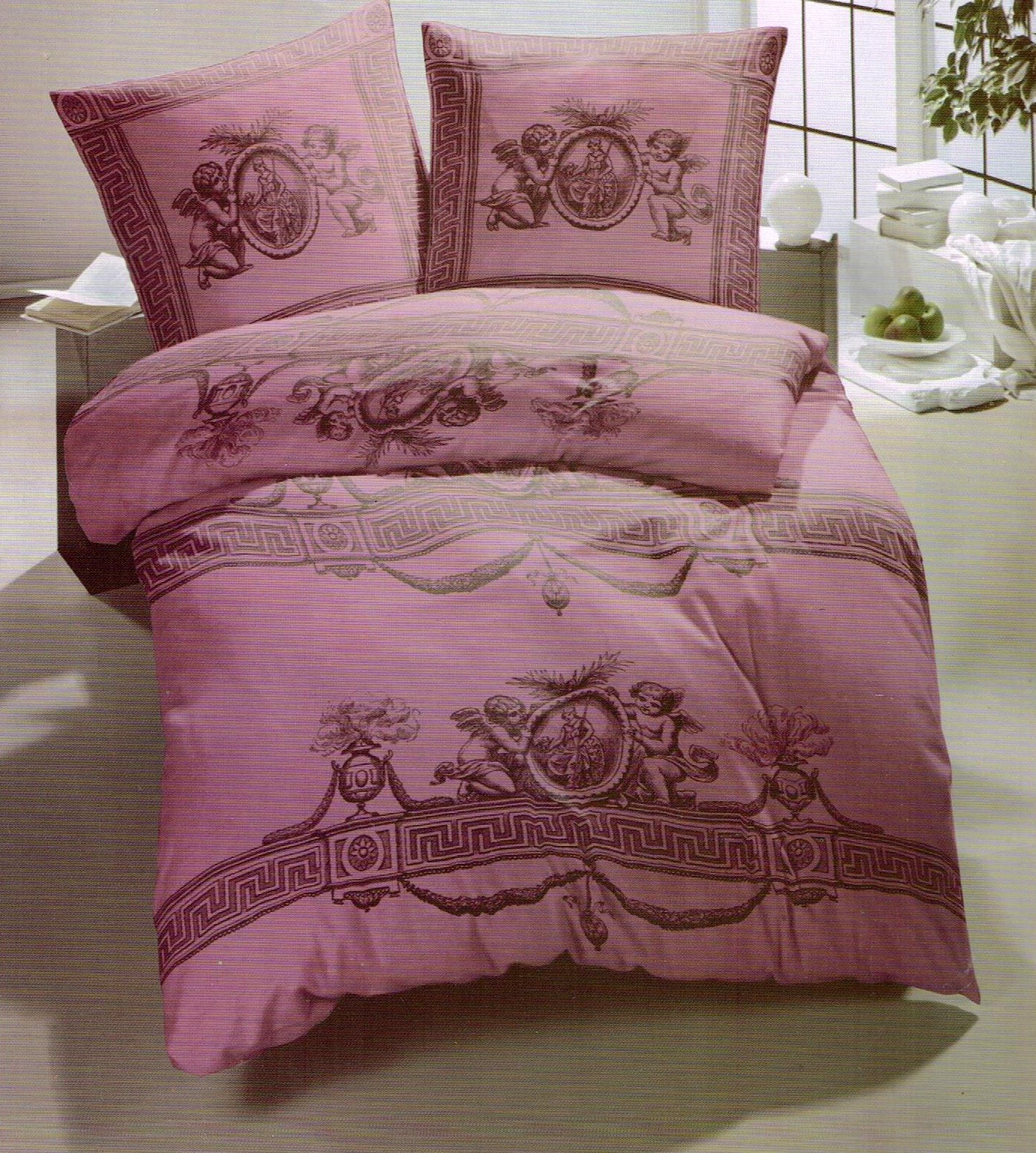 hochwertige bettw sche 2 tlg set 2 x kissenbezug purpur barock engel ebay. Black Bedroom Furniture Sets. Home Design Ideas